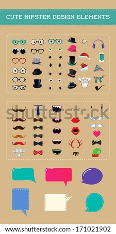 Cute hipster style party design element set. Fully editable vector illustration. Cartoon icons. Monster eyes - stock vector