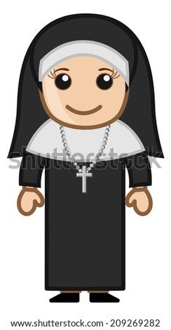 Cute Holy Nun - Vector - stock vector