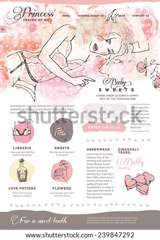 cute home page website design template with a lot of pretty icons - stock vector