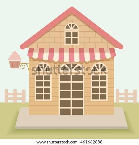 Superbe Cute House Cakes Cafe Vector Design.