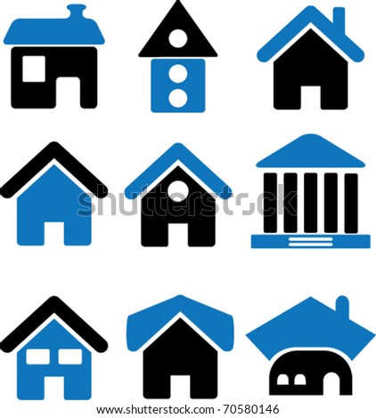 cute houses. vector - stock vector