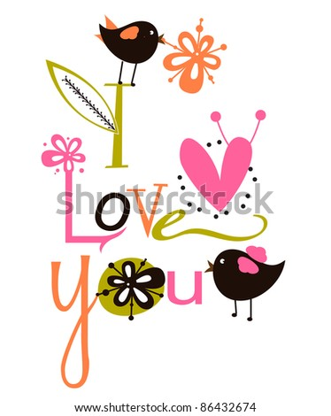 Cute I love script Card - stock vector