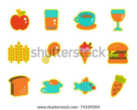 cute icon series - food - stock vector