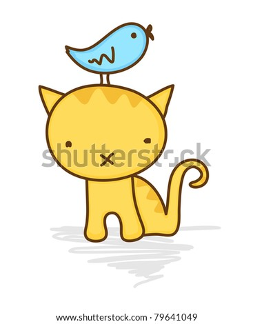 Cute illustration of a bird sitting on a cat's head - stock vector
