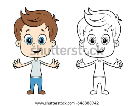 cute illustration of a boy in color and without color vector illustration for coloring book - Picture Of A Boy To Color