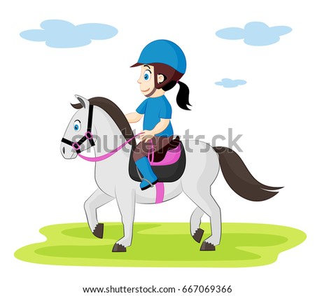 cute illustration of a child riding horse horseback riding for children - Cartoon Picture Of A Child
