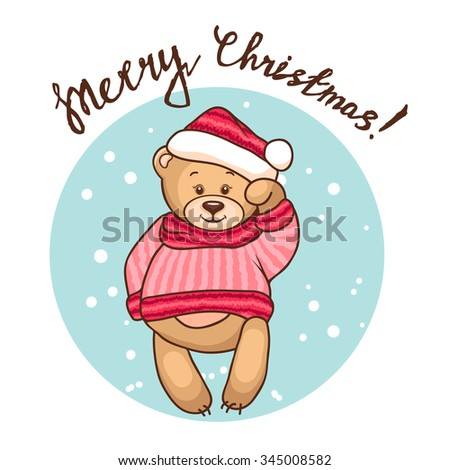 Cute Illustration Of Christmas Teddy Bear, for xmas design. Funny Merry Christmas background. - stock vector