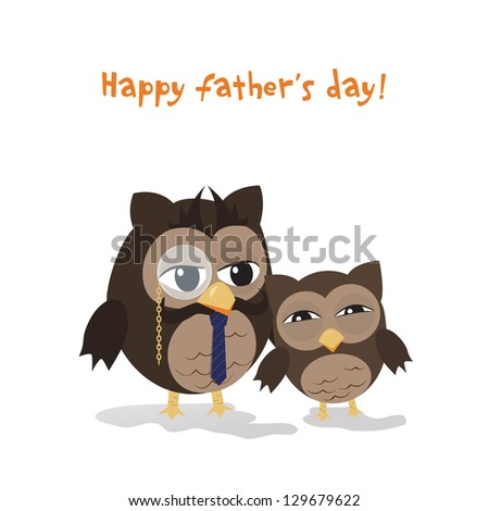 Cute illustration of happy father and kid owl - stock vector