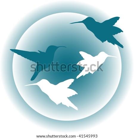 Cute illustration of hummingbird - stock vector