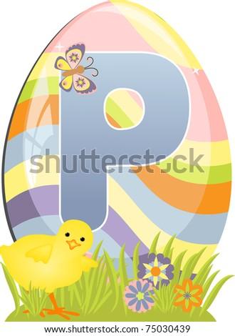 Cute initial letter P for easter design (EPS10) - stock vector