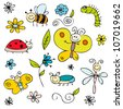 Cute insects and flowers set - stock vector