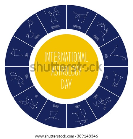 Cute International Astrology Day background with schematic hand drawn zodiac constellations and hand written text