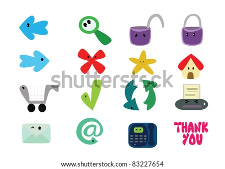 Cute internet icons vector