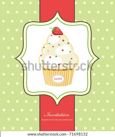 cute invitation background with cupcake. vector illustration - stock vector