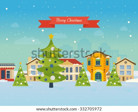Cute invitation card with winter city life and space for text. Merry Christmas greeting card design. Vector illustration.