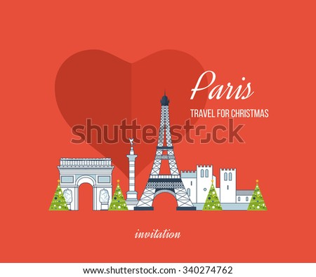 Cute invitation card with winter city life and space for text. Merry Christmas greeting card design. French Landmarks. Travel to Europe. Eiffel tower, Notre Dame in Paris, France - stock vector