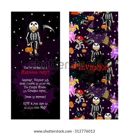 Cute invitation for kids Halloween party. Illustration of fairy, witch, death and pirate in cartoon style. Costume party invitation. Vector. - stock vector