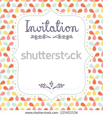 Cute invitation template for festive events - stock vector