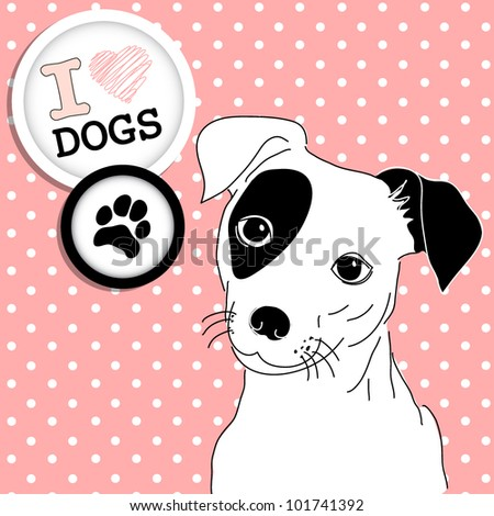 Cute Jack Russell Terrier. Brilliant card for dog lovers! - stock vector