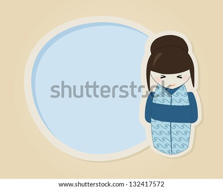 Cute japanese kokeshi doll in blue kimono with a speech bubble or greeting card template - stock vector