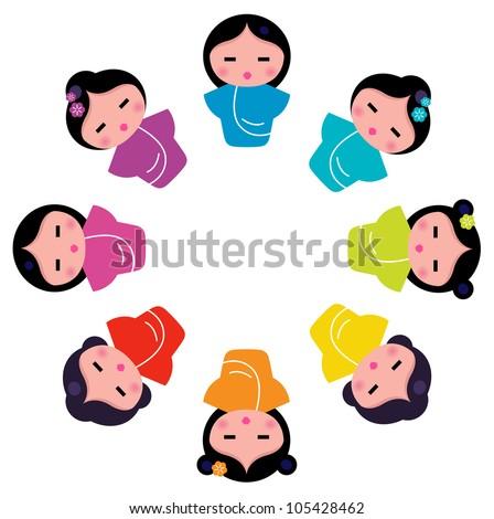 Cute japanese kokeshi dolls in circle - stock vector