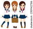 Cute japanese school girls friends happy together in same sailor uniform - stock vector