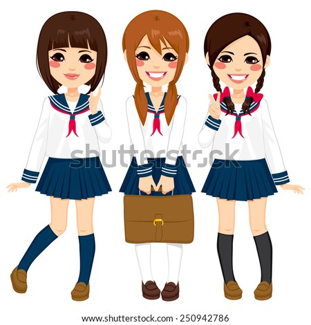 Cute japanese school girls friends happy together in same sailor uniform