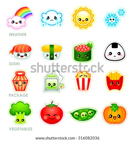 Cute japanese stickers with weather, sushi, packages and vegetables - stock vector