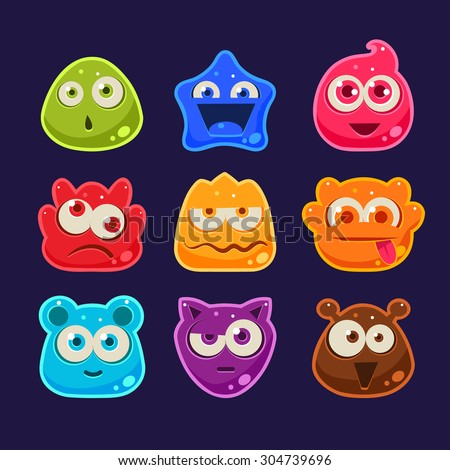 Cute jelly characters with different emotions and colors - stock vector
