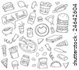 Cute junk food doodles. - stock vector