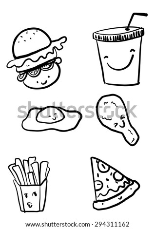 Cute junk food/fast food/healthy,unhealthy food gain weight vector cartoon - stock vector