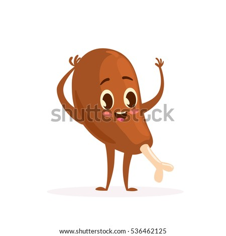 Cute Kawaii Fast Food Character. Colorful Cartoon Food Character With  Chicken Leg. Emoticon Fast