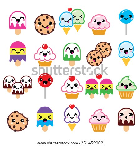 Cute Kawaii food characters - cupcake, ice-cream, cookie, lollipop icons - stock vector