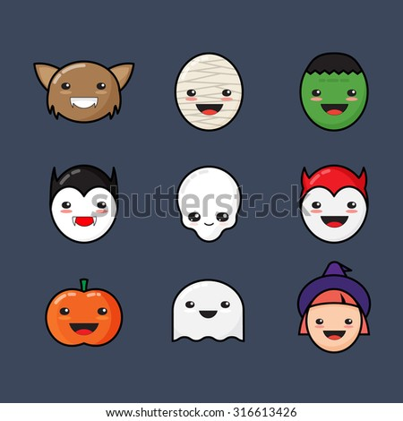 Cute Kawaii Halloween Icons Set. Funny Monster Faces on Dark Background. - stock vector