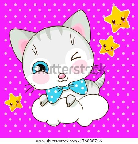 Cute kawaii kitty on the cloud - stock vector