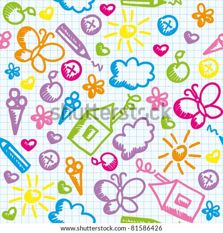 cute kid seamless pattern on paper page