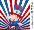 Cute Kid Uncle Sam - stock vector