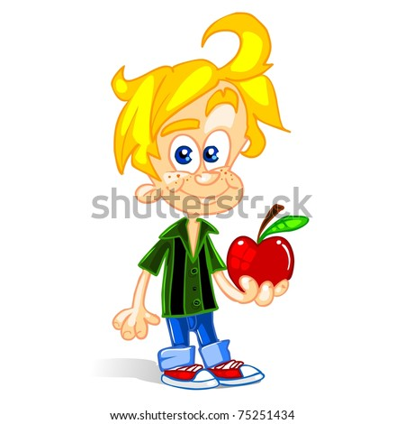 Cute Kid With Apple - stock vector