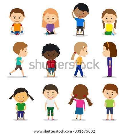 Cute kids characters in different position vector set in flat style - stock vector