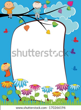 Cute kids frame with happy boys and girls - stock vector