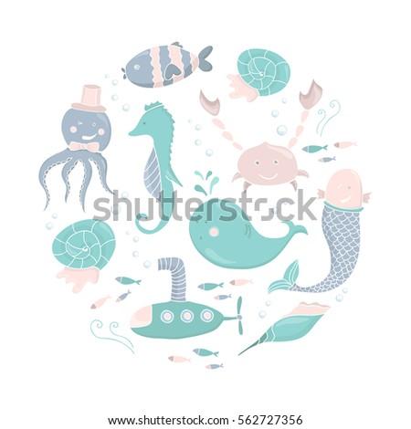 Cute Kids Illustration Sea Creatures Cartoon Stock Vector ...