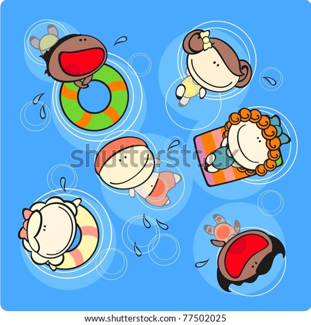 Cute kids in a swimming pool - stock vector