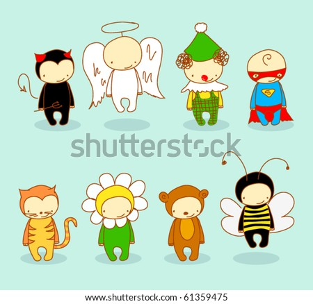 Cute kids in costume. For cuter costumes see image no. 66102025 - stock vector