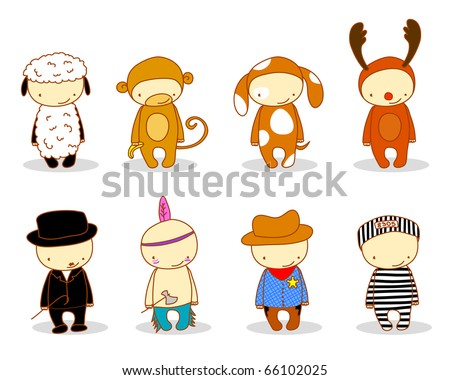 cute kids in costume. for cuter costumes see my portfolio - stock vector