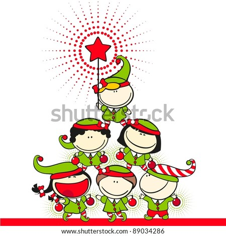 Cute kids in costumes of elves created a christmas tree pyramid - stock vector