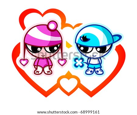 Cute kids in first Valentine love with hearts - stock vector