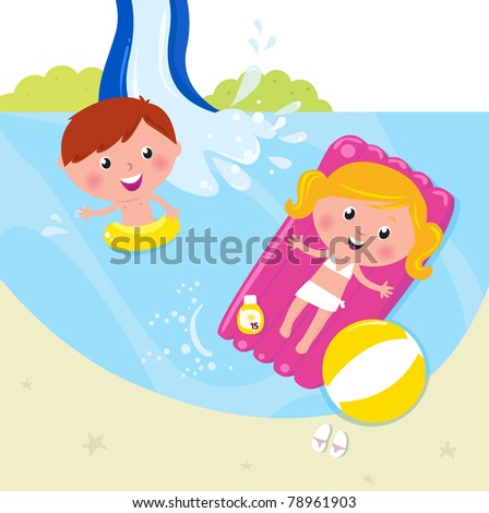Cute kids in pool with fresh water. Vector Illustration. - stock vector