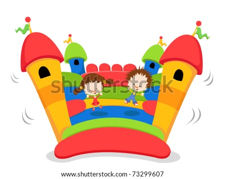 Cute Kids jumping on a bouncy castle - stock vector