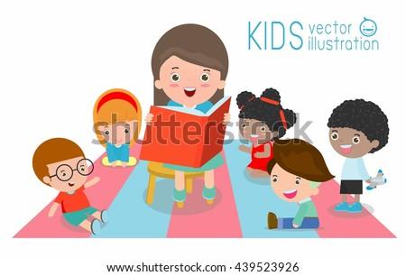cute Kids Listening to Their teacher Tell a Story, reading books, teacher reading books for child in the kindergarten, teacher and kids, Children enjoy listening to stories teacher reading books - stock vector
