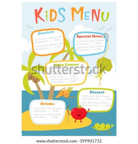Cute Kids Meal Menu Vector Template Stock-Vektorgrafik 399901732 ...